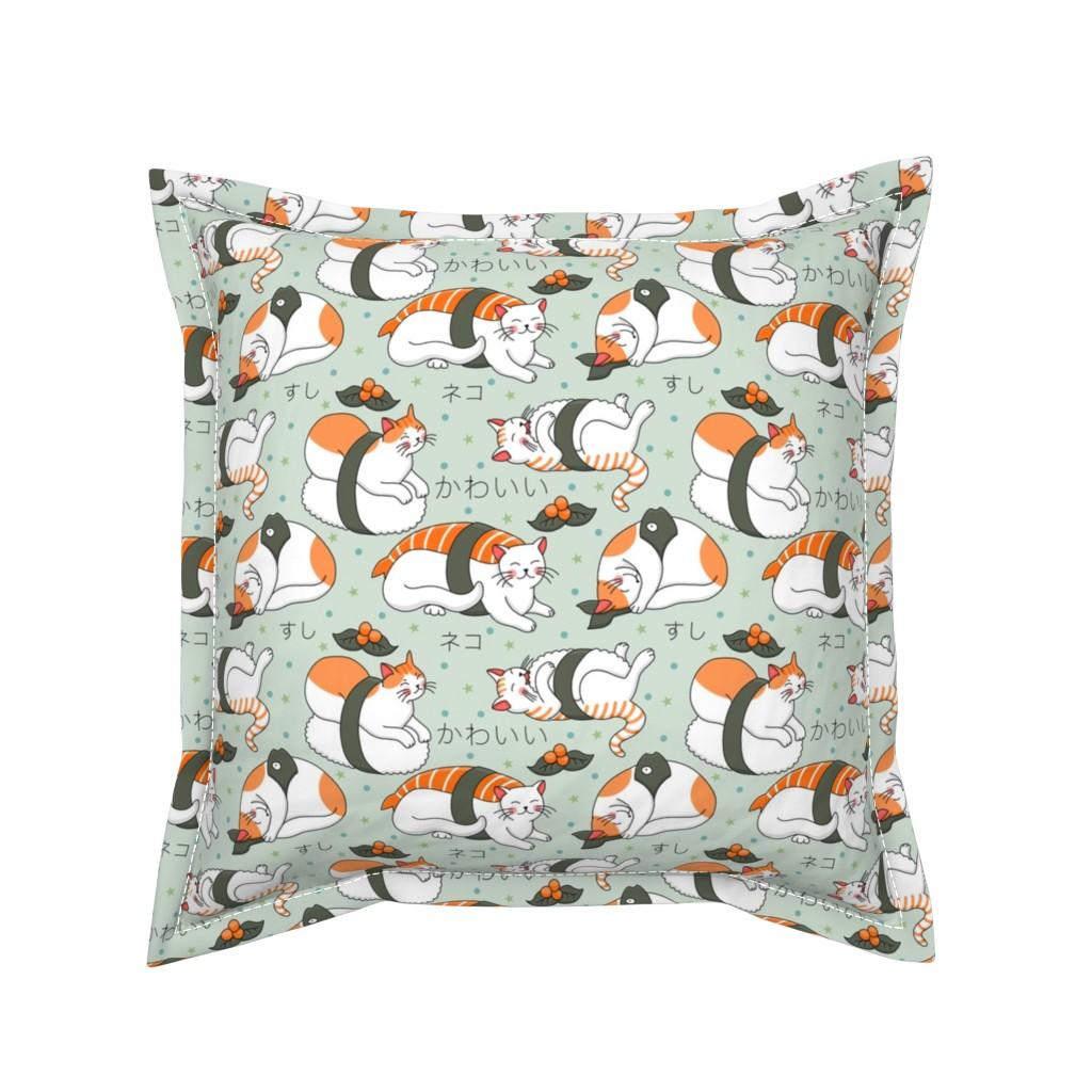 Serama Throw Pillow featuring Kawaii neko sushi by elena_naylor