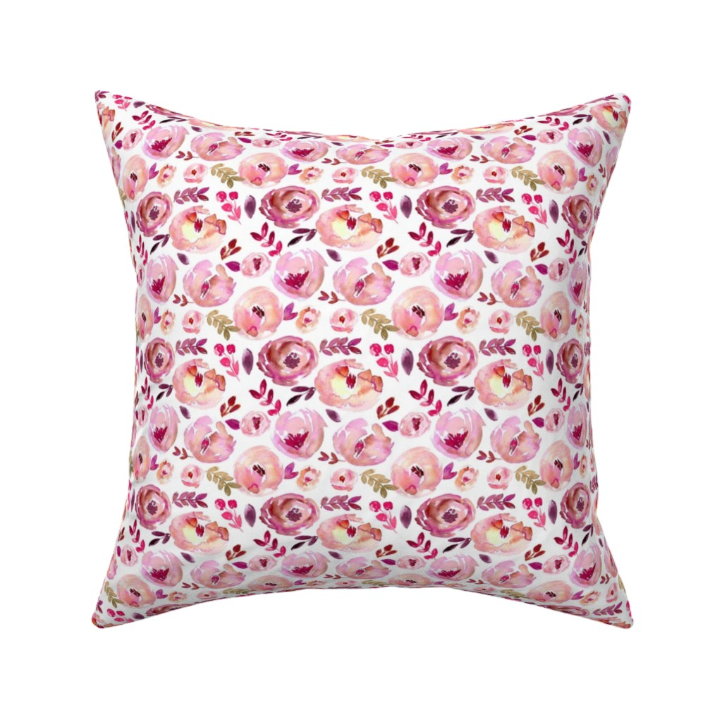 Catalan Throw Pillow featuring Valentine's Day Pink Magenta Red Loose Abstract Watercolor Florals  by smallhoursshop