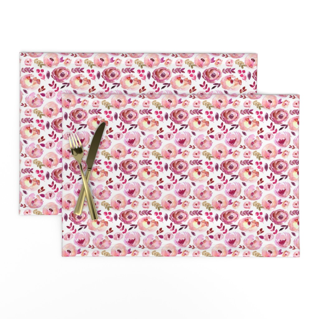 Lamona Cloth Placemats featuring Valentine's Day Pink Magenta Red Loose Abstract Watercolor Florals  by smallhoursshop