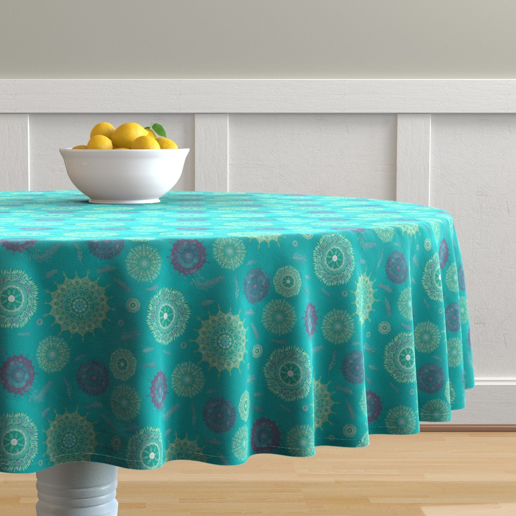 Malay Round Tablecloth featuring Boho Turquoise Smaller Print by stasiajahadi