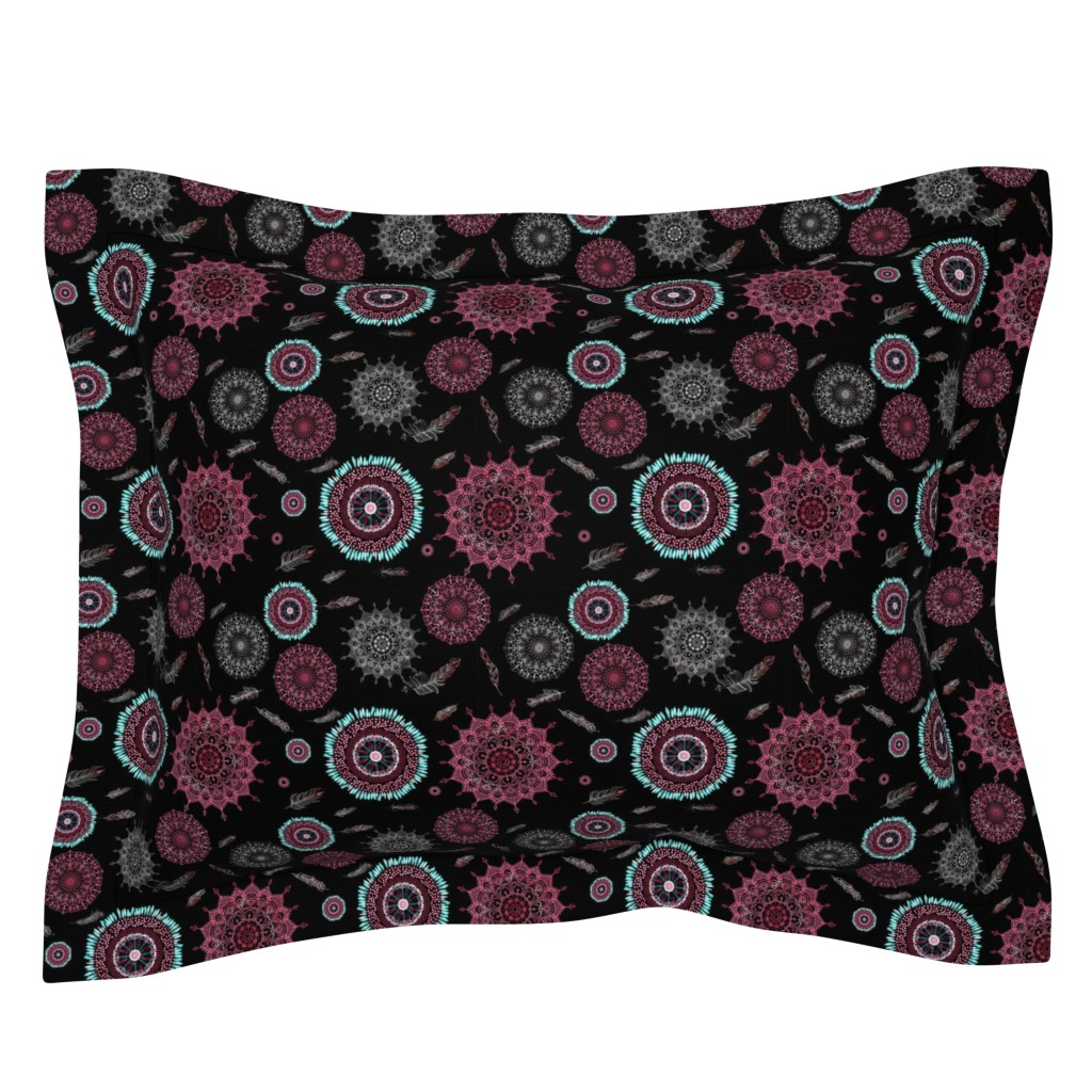 Sebright Pillow Sham featuring Boho Black and Pink Smaller Print by stasiajahadi