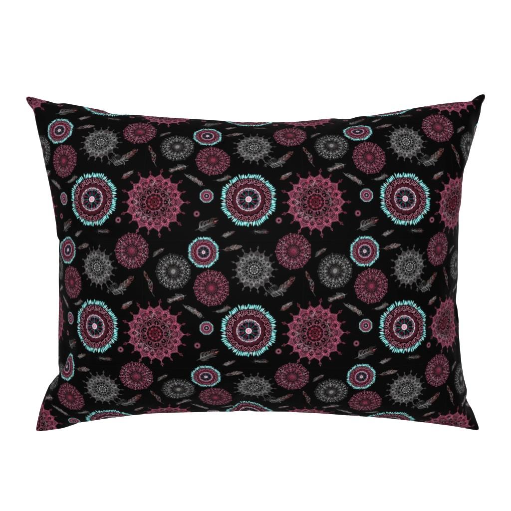Campine Pillow Sham featuring Boho Black and Pink Smaller Print by stasiajahadi