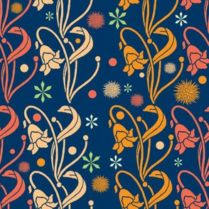 Art Nouveau Flowers In Blue