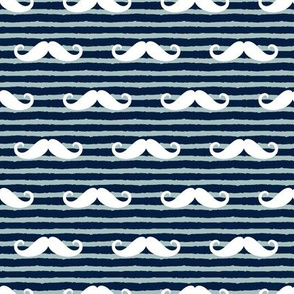 mustache on stripes - navy and dusty blue