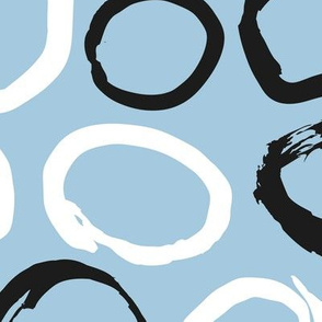 Raw brush ink circles abstract Scandinavian style print black and white blue