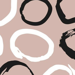 Raw brush ink circles abstract Scandinavian style print black and white gender neutral beige