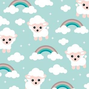 Good night, sleep tight counting sheep and rainbow dreams kids design blue