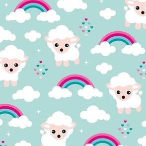 Good night, sleep tight counting sheep and rainbow love kids design pink