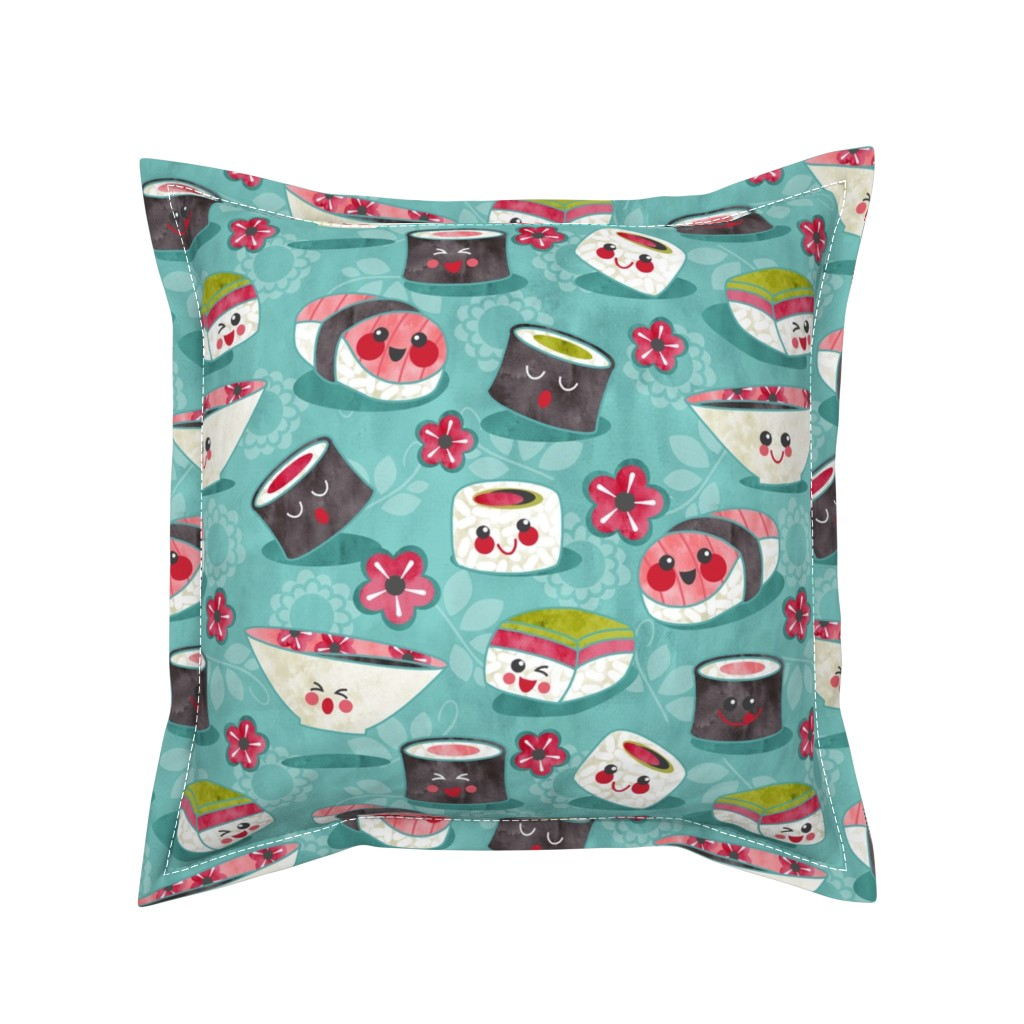 Serama Throw Pillow featuring we love sushi  by cjldesigns