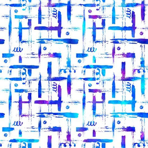 Blue Brush watercolor pattern with stripes and strokes