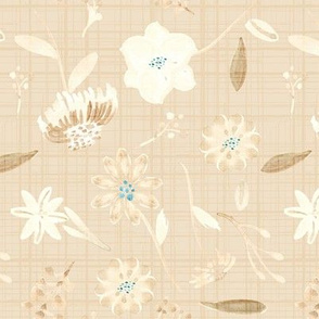 18-10M Cream Linen Floral    Teal Flower
