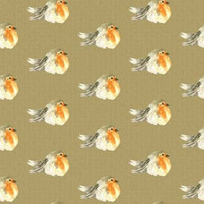 18-10K Baby Bird Robin Fall Autumn Linen Watercolor || Orange Tan Gray grey Cream Tobacco _ Miss Chiff Designs