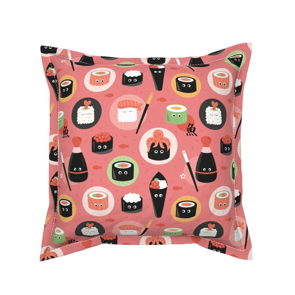 Serama Throw Pillow featuring sushi-fish by la_fabriken