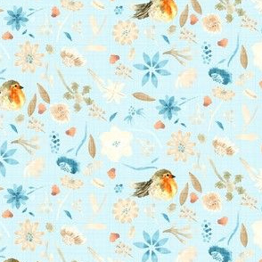 18-10J Baby Blue Bird Robin Floral Watercolor || Flower Orange Taupe Brown Cream Teal Modern Farmhouse _ Miss Chiff Designs