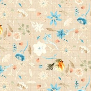 18-10H Baby bird robin floral watercolor ||  orange taupe tan