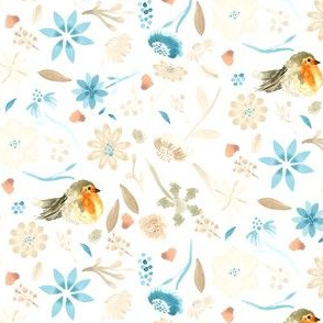 18-10G Baby bird Robin Watercolor || Orange taupe tan flower teal