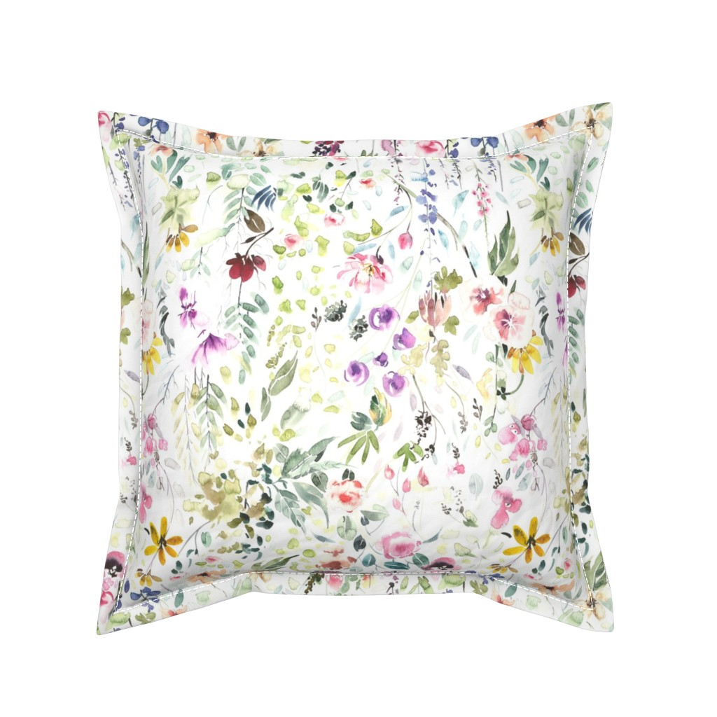 Serama Throw Pillow featuring Eame's Wildflower Meadow by hipkiddesigns
