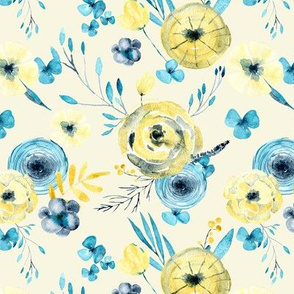 Watercolor flowers on light yellow background