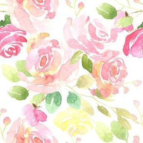 Watercolor light pink roses flowers green salad leaves