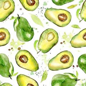Watercolor Avocado on white background