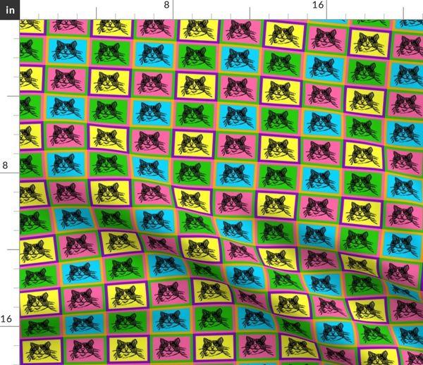 Fabric By The Yard Pop Art Perdida Lino Cut Block Print Kitty Cat Design