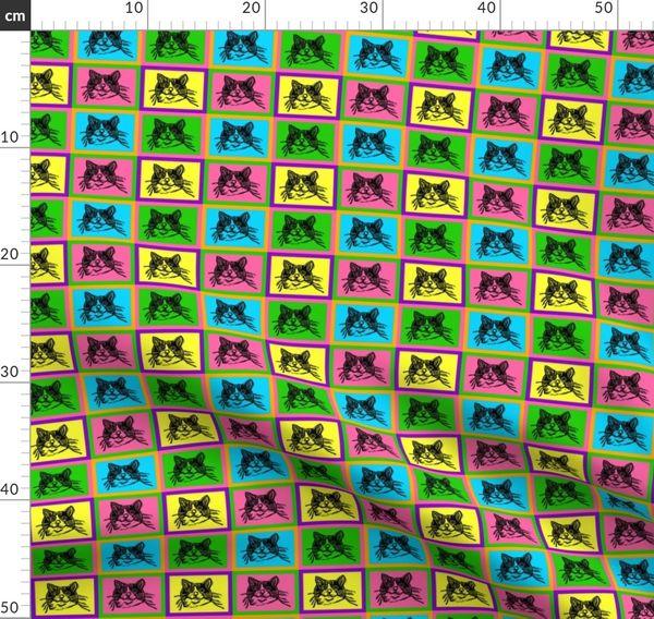 Pop Art Prints Novelty Sheep Linen Look Fabric