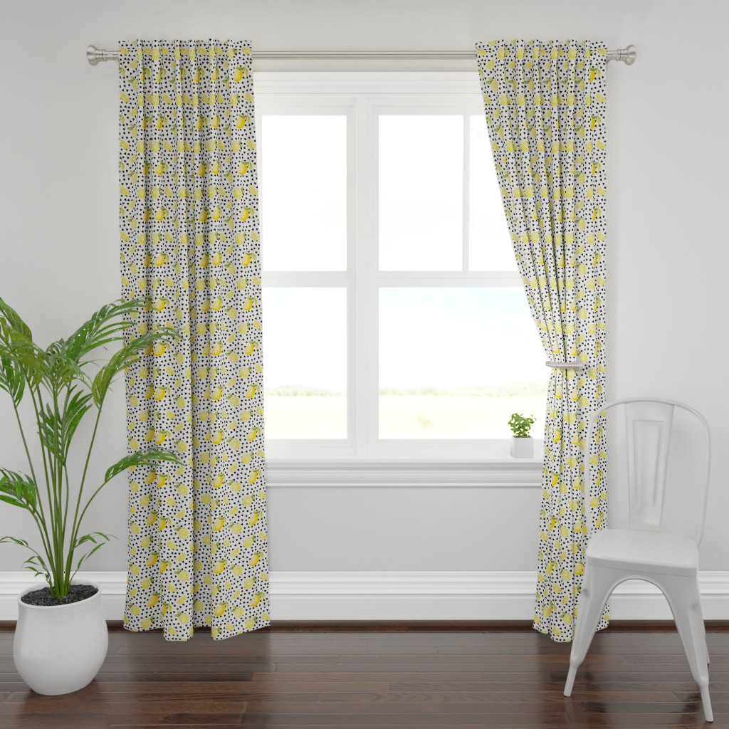 Plymouth Curtain Panel featuring watercolor lemons with black triangles by whimsical_brush