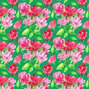 Pink florals on Jade