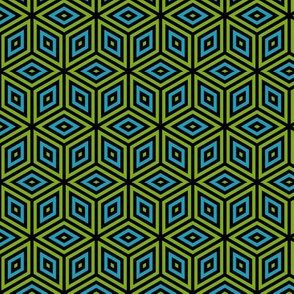 Geometric Pattern: Nested Cubes: Blue/Green