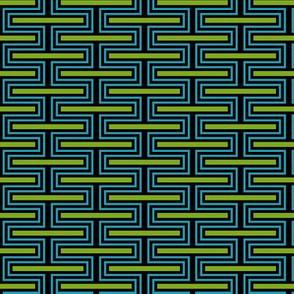 Geometric Pattern: Offset Brick: Blue/Green
