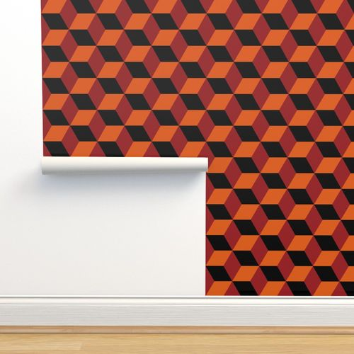 6784564 geometric pattern 3d cube red orange by red wolf