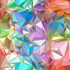 Geometric Trompe L'oeil  Colorful Crystalline with Gold Lines