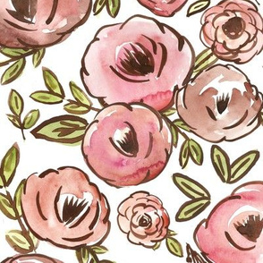 Romantic Nudes Fall Soft Watercolor Floral