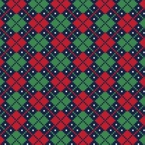 christmas knits red green on navy no3 argyle