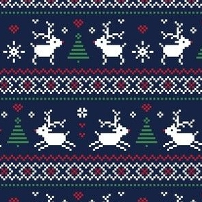 christmas knits red green on navy no2 reindeer