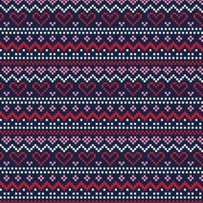 christmas knits red pink no1 fair isle