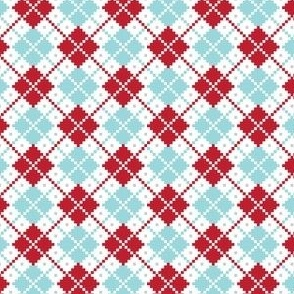 christmas knits red blue no3 argyle
