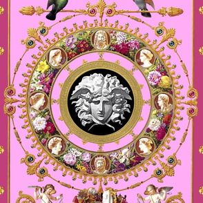 1 medusa cherubs angels birds gold flowers floral leaves leaf cameo men women portraits acanthus jewels gems pearls wreaths borders frames squirrels pigeons doves baroque rococo pink versace inspired