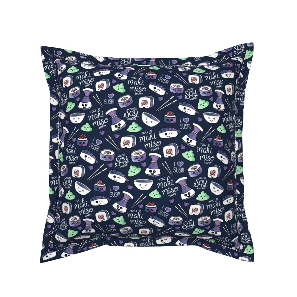 Serama Throw Pillow featuring Galaxy Sushi On Navy by gingerlique