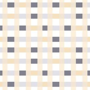 Grid In Soft Peach & Gray