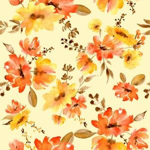 Watercolor red and yellow flowers