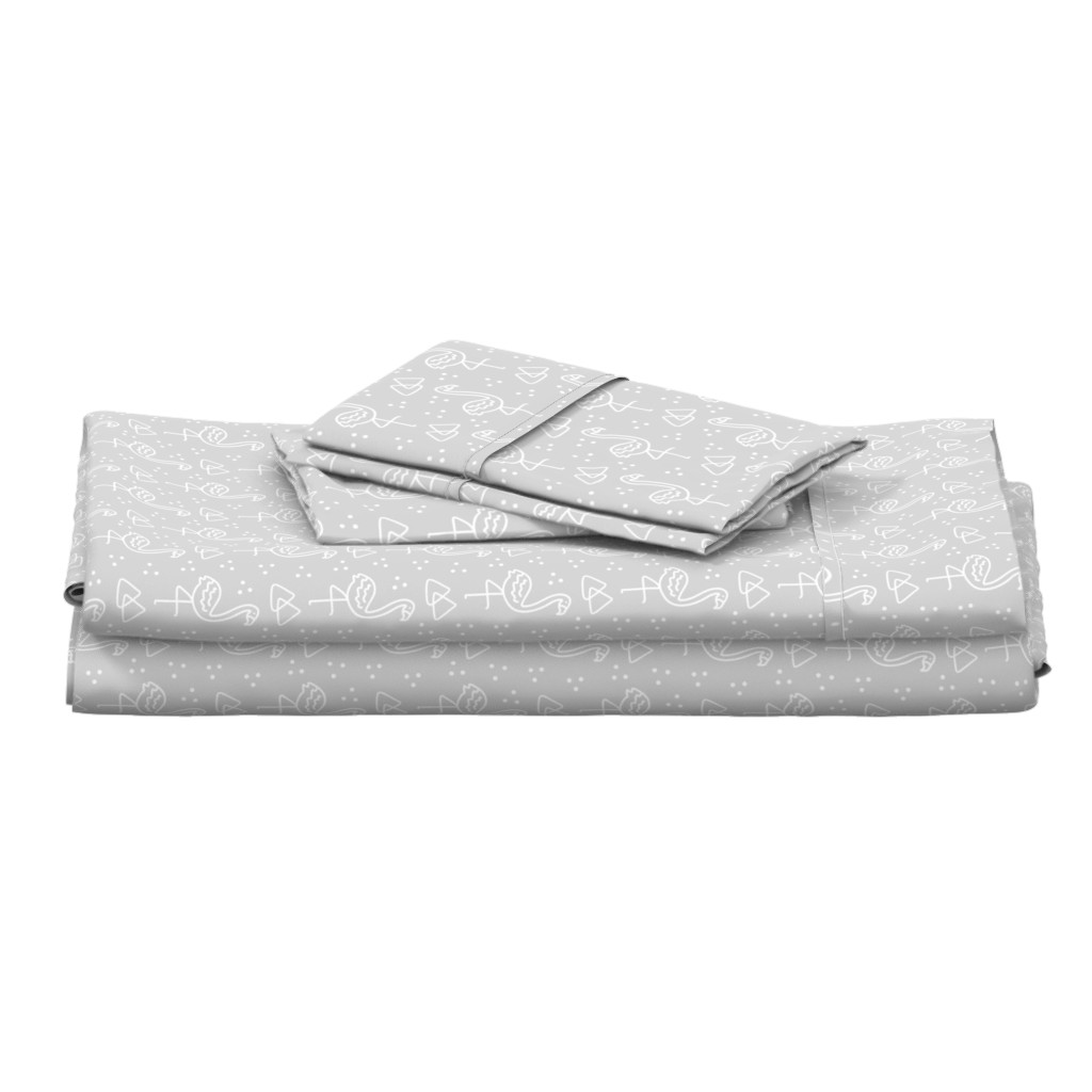 Langshan Full Bed Set featuring Geo Flamingo on Grey by thewellingtonboot