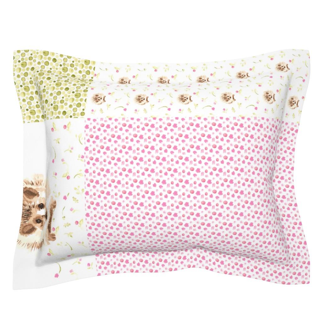 "Sebright Pillow Sham featuring 17-02A 54"" Hedgehog Floral Tea Towel Panel Cute Animal by misschiffdesigns"