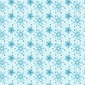 18-10F Teal Blue Flower Floral || Snowflake Winter Fall _ Miss Chiff Designs