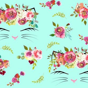 "2.5"" Floral Cat Heads Mint"
