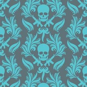 Damask Skulls Blue-radiance-in-goblin-blue