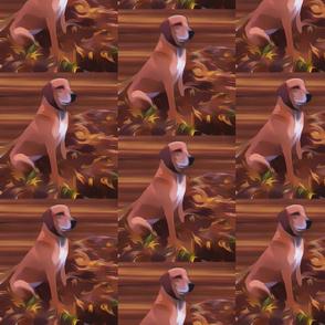 Redbone Coonhound and Leaves