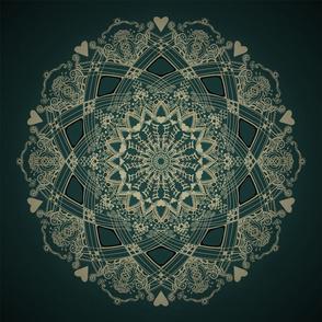 Mandala Project 263 | Gold on Green