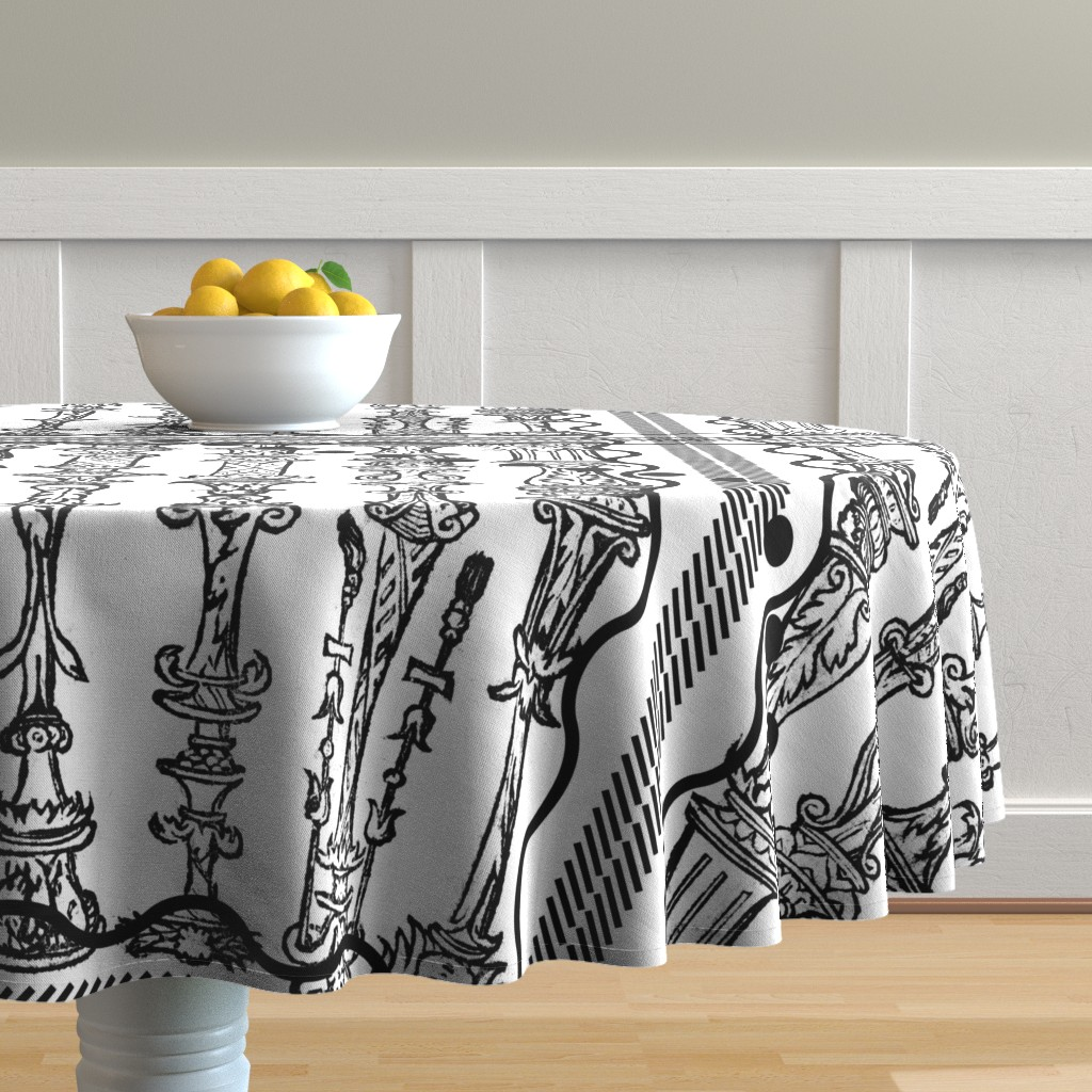 Malay Round Tablecloth featuring column sketches by jerseymurmurs