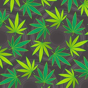 ★ SPINNING WEED ★ Green & Dark Gray - Large Scale/ Collection : Cannabis Factory 1 – Marijuana, Ganja, Pot, Hemp and other weeds prints